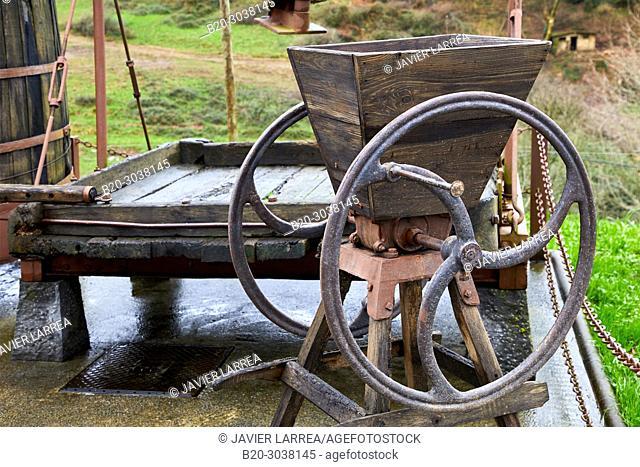 Matxaka, Pulping Machine, Cider barrels, Sidreria Petritegi, Astigarraga, Gipuzkoa, Basque Country, Spain, Europe