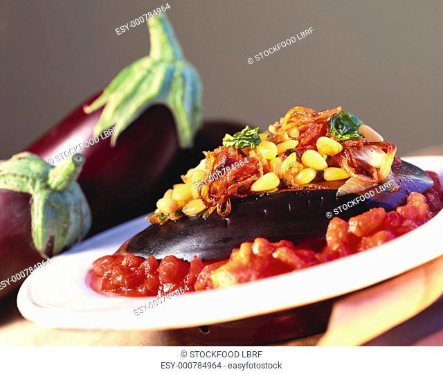 Stuffed aubergines with tomato sauce