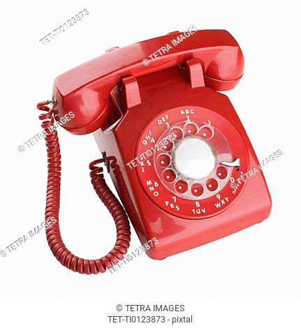 Close up of rotary telephone