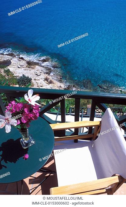 View from the terrace table with flowers of the sea, Erofili Hotel Ikaria, Northeastern Aegean Island, Greece