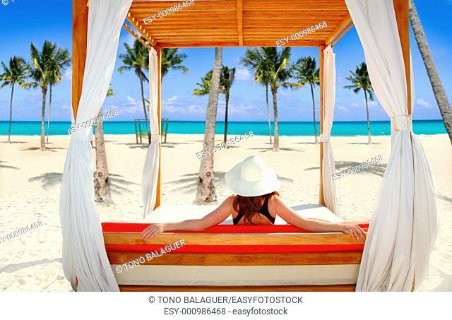 gazebo tropical beach woman rear view looking sea tropical resort