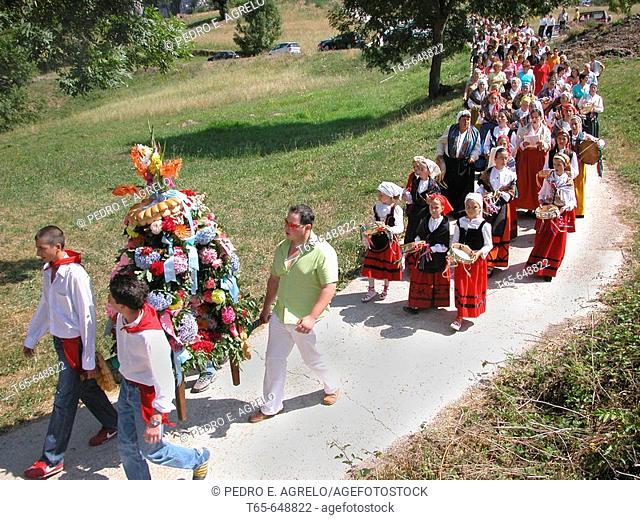 Procession in a festival. Bejes. Picos de Europa. Cantabria. Spain
