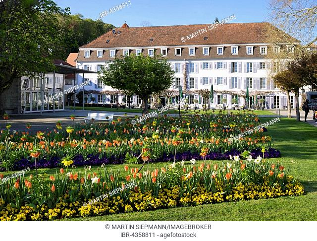 Flowerbeds in the courtyard, Bad Hotel, Überlingen at Lake Constance, Lake Constance district, Swabia, Baden-Württemberg, Germany