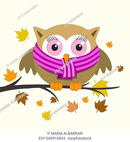 Female owl with scarf on a fall day. Vector illustration