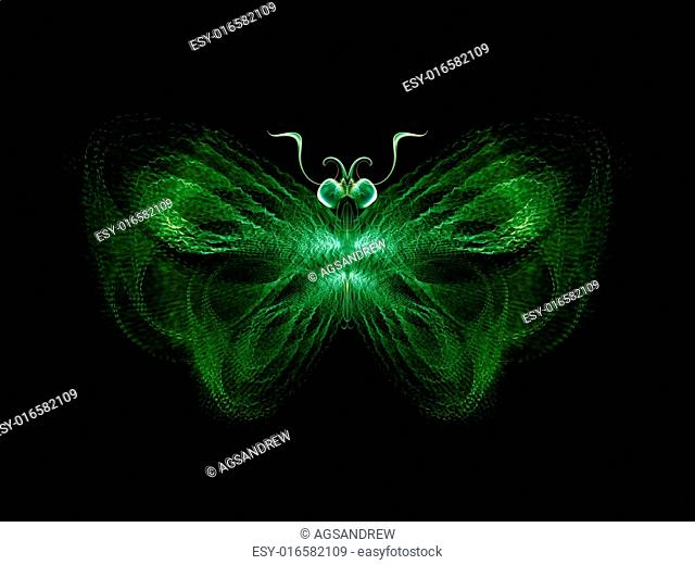 Never Were Butterflies series. Abstract arrangement of isolated butterfly patterns suitable as background for projects on science, imagination