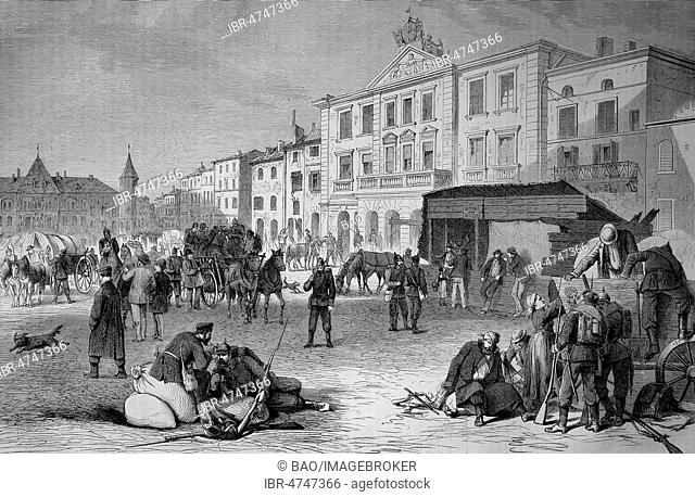At the marketplace and the Mairie in Pont-a-Mousson on 19 August, Franco-German War 1870/71, woodcut, France