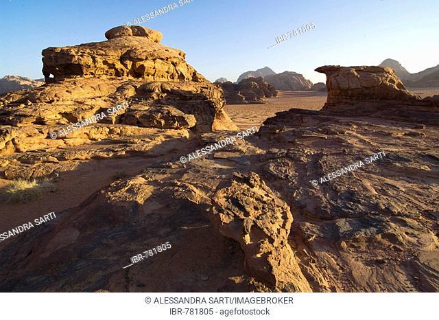 Rock formations in the desert, Wadi Rum, Jordan, Middle East