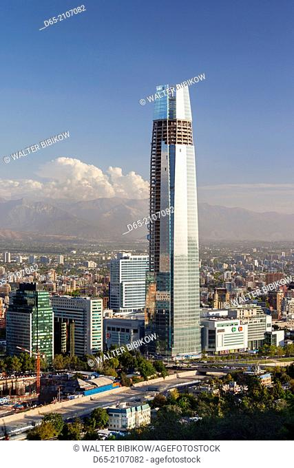 Chile, Santiago, elevated view of Providencia buildings and the Gran Torre Santiago tower from the Cerro San Cristobal hill