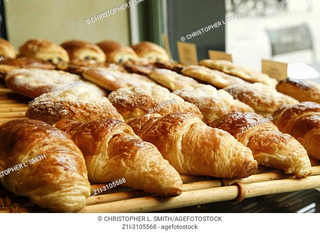 Croixants and pastries on sale in a Pattisserie in Reims, France