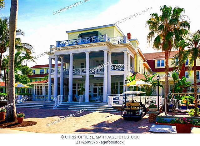 The front porch and entrance of the Gasparilla Inn & Club, Boca Grande, on Gasparilla Island, Florida