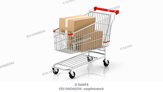 Boxes closed in a shopping cart with red details isolated on white background. 3d illustration