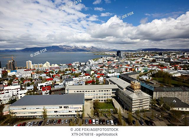 aerial view looking north over the city of Reykjavik iceland