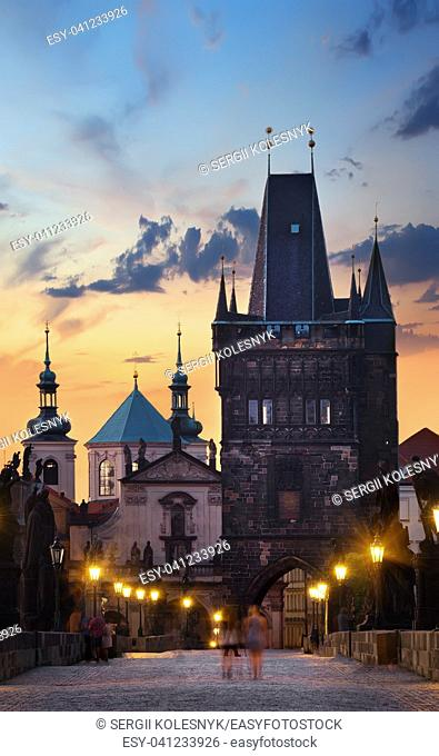 Staromestska Tower on Charles Bridge in Prague at sunrise