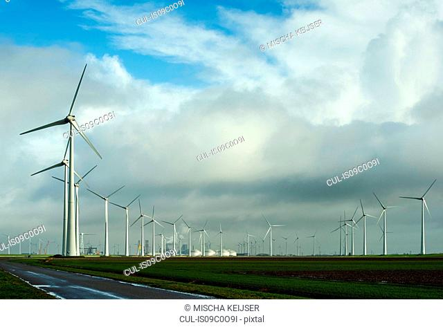 Wind turbines around the Delfzijl harbour area, Delfzijl, Groningen, Netherlands
