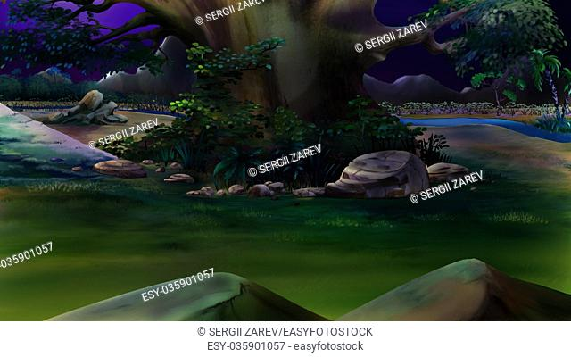 Digital painting of the native plants near the river in a summer night