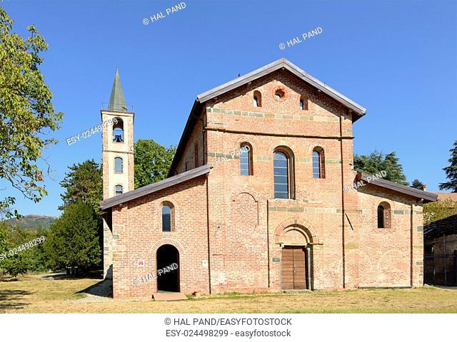 facade of ancient church of santa Maria alla Croce Cistercian abbey, Tiglieto, Ligure inland, Italy