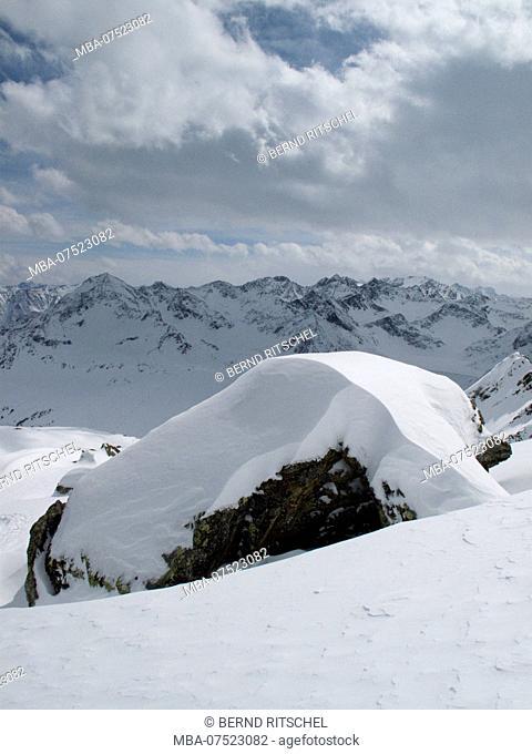 View of Kühtai from the south, Stubai Alps, Tyrol, Austria