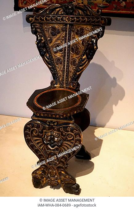 Carved wooden chair from Venice. Dated 17th Century