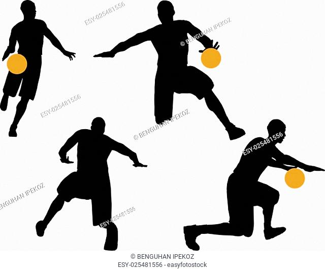 vector image - basketball player silhouette in drible pose, isolated on white background