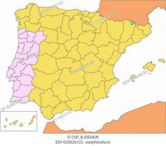 Map Of Spain And Surrounding Countries.Spain Portugal Malaga Stock Photos And Images Age Fotostock