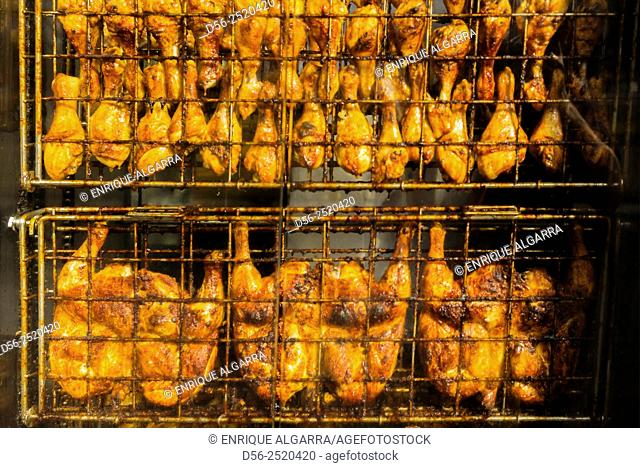 roasted chickens, Brussels, Belgium