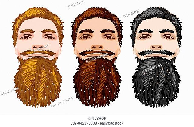 Three Vector Bearded Men Faces