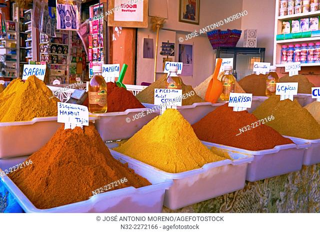 Spice Shop, Grocery, Rahba Kedima Square, Place des epices, Medina, Marrakech, UNESCO Worlrd Heritage Site, Morocco, Maghreb, North Africa