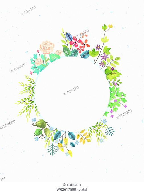 Circle frame with watercolor spring flowers and plants