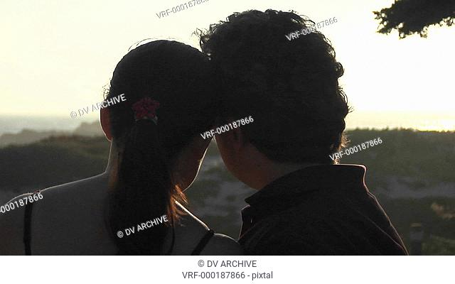 A man and woman kiss and look at the beautiful scenery