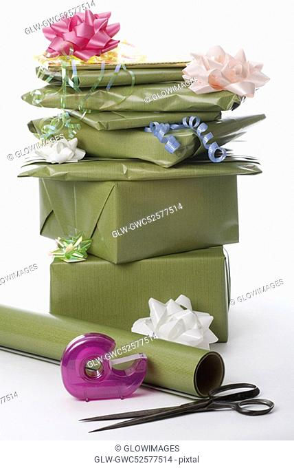 Close-up of a stack of gifts