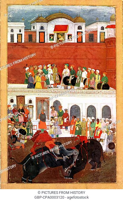 India: A miniature painting (c. 1650 CE) of Shah Jahan the Magnificent and two of his sons watching from windows as elephants battle in the courtyard of the Red...