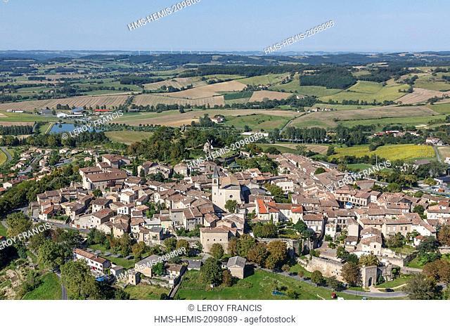 France, Tarn, Lautrec, labelled Les Plus Beaux Villages de France (The Most beautiful Villages of France, the village (aerial view)