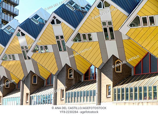 ROTTERDAM, Netherlands - JUNE 6: Cube houses designed by Piet Blom on June 6, 2014 in Rotterdam, Netherlands. They represents a village where each house is a...