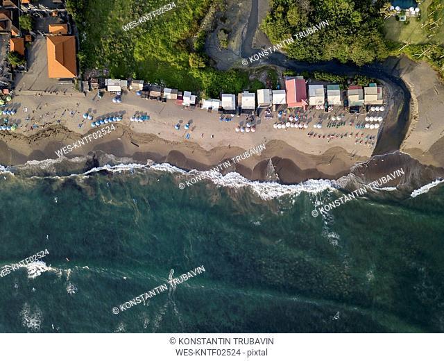 Indonesia, Bali, Canggu, Aerial view of Batu bolong beach
