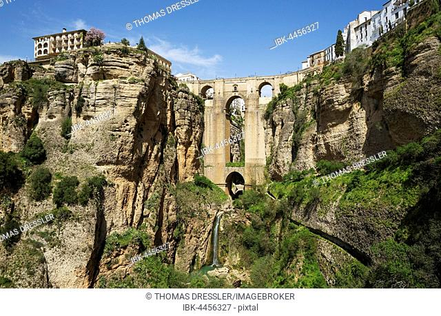 Puente Nuevo with Tajo gorge and river Río Guadalevín, Ronda, Malaga province, Andalusia, Spain