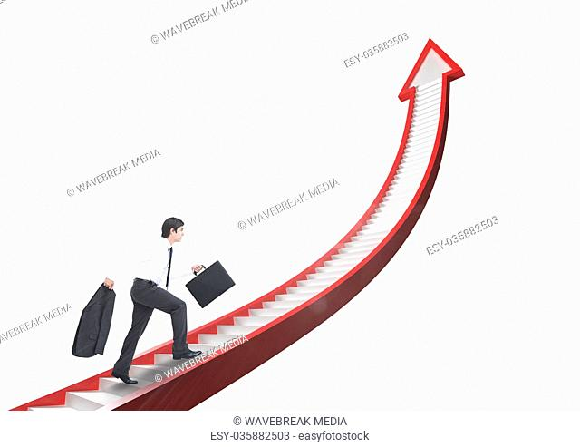 businessman walking up arrow stairs