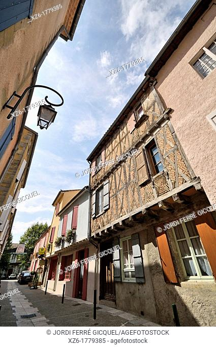 Typical street, Mirepoix, medieval town in Ariège, Midi-Pyrénées, France, Europe
