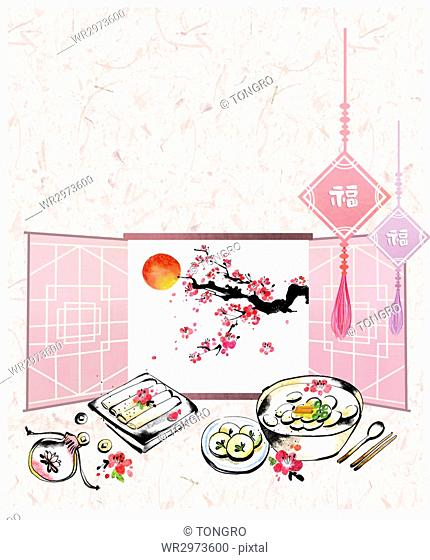 Calligraphic oriental painting for new year