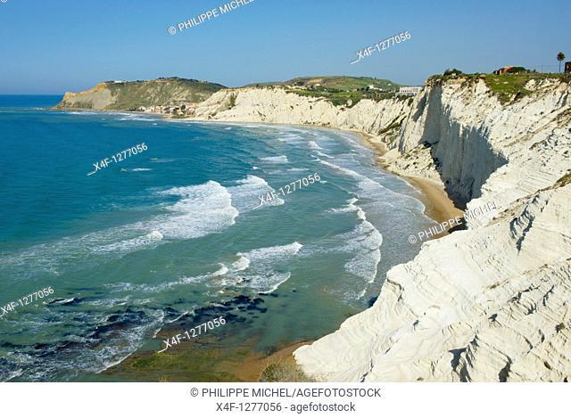 Italy, Italia, Sicily, Sicilia, Agrigento district, Realmonte, Scala dei Turchi, rocky shore beetwen Capo Rossello and Porto Empedocle