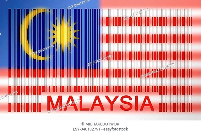 Flag of Malaysia, painted on barcode surface
