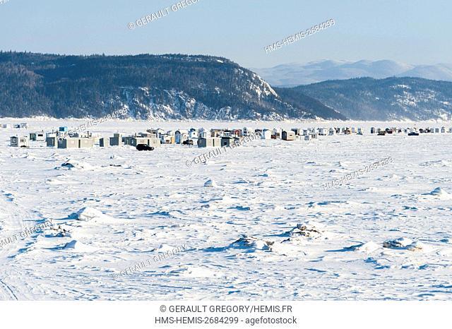 Canada, Quebec, Saguenay, La Baie, white fishing village of Anse a Benjamin