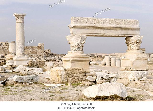 Street flanked by a colonnade, Laodicea on the Lycus, Denizli, Anatolia, Turkey