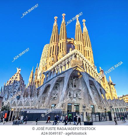 Spain, Catalunya, Barcelona City, Sagrada Familia Temple, Gaudi,