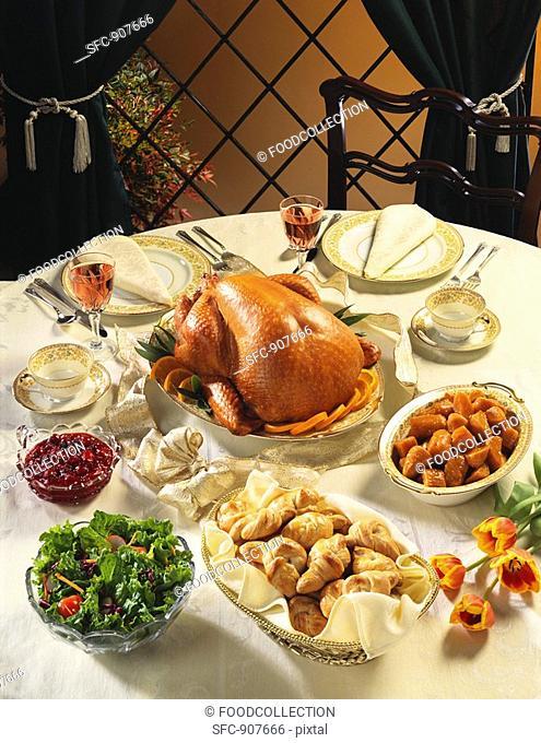 Roast Turkey Dinner on Table