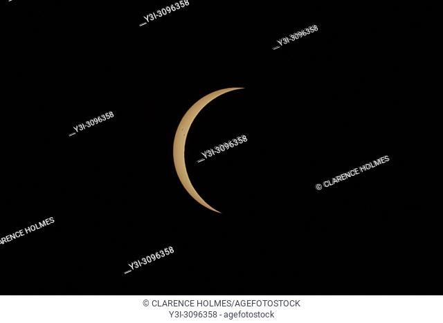 Only a crescent Sun remains in the first partial eclipse phase as the totality phase approaches during the Great American Eclipse on August 21, 2017