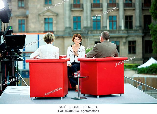 """The Federal chief of German party The Left, Katja Kipping (M) is interviewed at the Reichstag for ARD program 'Bericht aus Berlin' (""""""""Report from Berlin"""""""")..."""