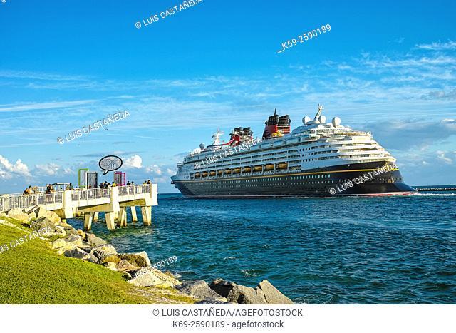 Cruise Ship leaving Miami. South Point. Miami Beach. Florida. USA