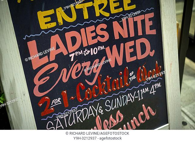 Ladies Night advertised at a bar in Flatiron in New York on Tuesday, October 9, 2018