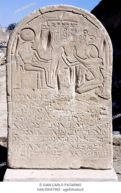 Luxor, Egypt, West Bank, Qurna. The funerary temple of the pharaoh Menmaatra Seti I (XIX° dyn.) in Qurna: a stele in the courtyard