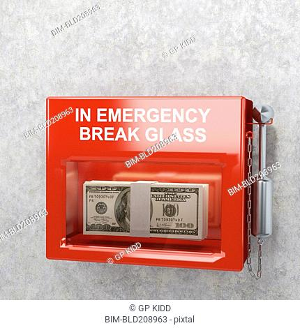Stack of dollar bills in emergency case